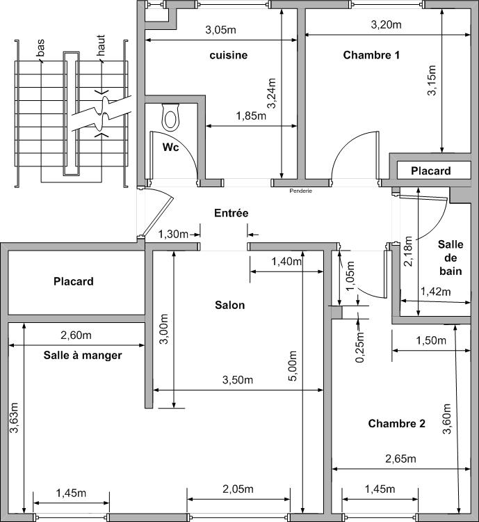 Appartement f4 plan de l appartement for Plan appartement
